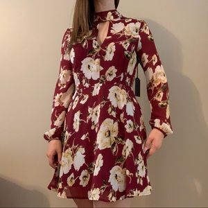 Long sleeve burgundy floral dress
